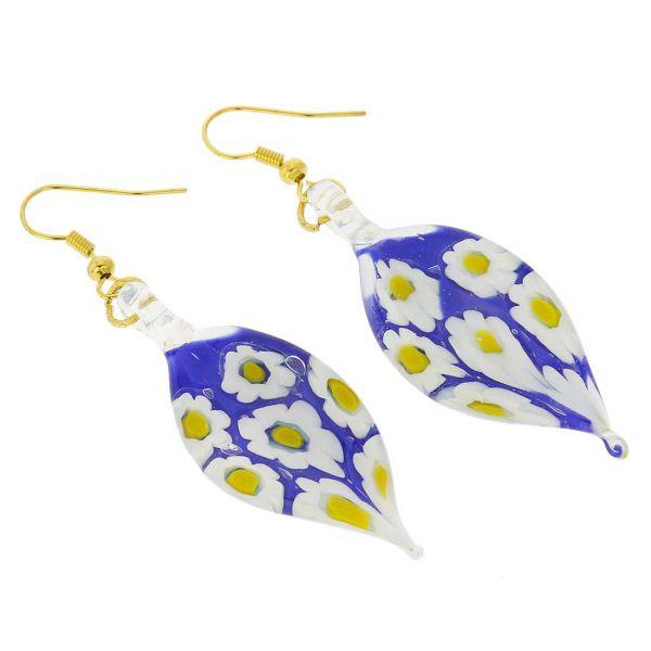 Blue Daisy Leaf-Shaped Earrings