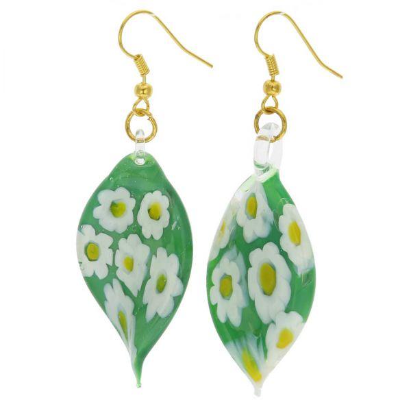 Green Daisy Leaf Earrings