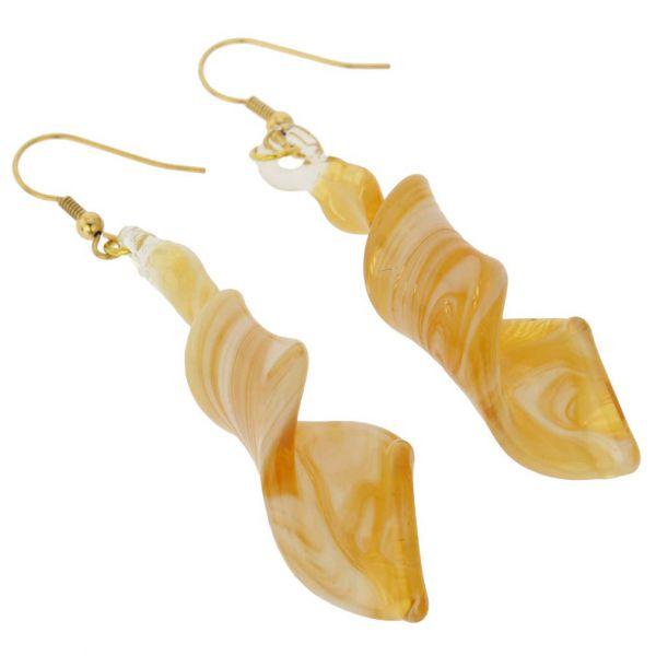 Venetian Marble Spiral Earrings - Sunshine