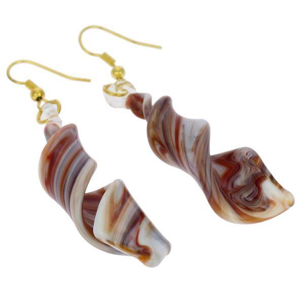 Venetian Marble Spiral Earrings - Red