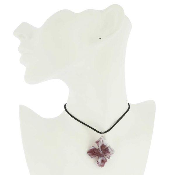 Venetian Marble Cross Pendant - Purple
