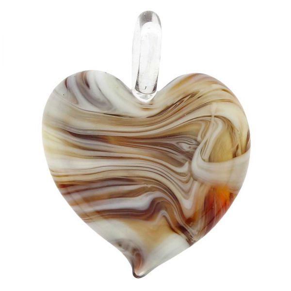 Venetian Marble Heart Pendant - Cognac