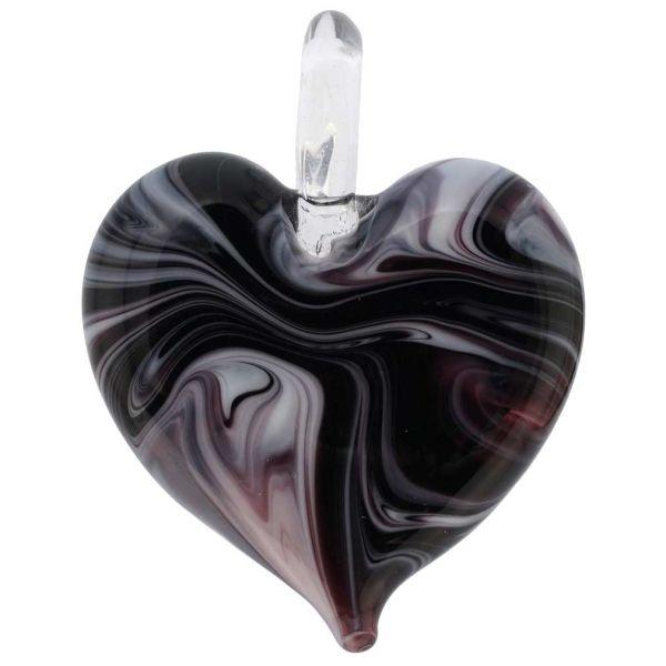 Venetian Marble Heart Pendant - Dark Purple