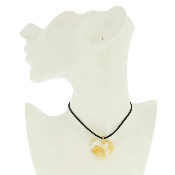 Venetian Marble Heart Pendant - Sunshine