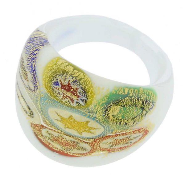 Millefiori Lattimo Golden Ring In Domed Design