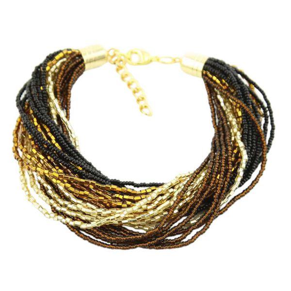 Gloriosa 24 Strand Seed Bead Murano Bracelet - Topaz and Gold