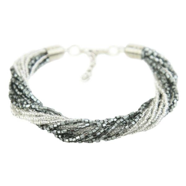Gloriosa 12 Strand Seed Bead Murano Bracelet - Silver Grey