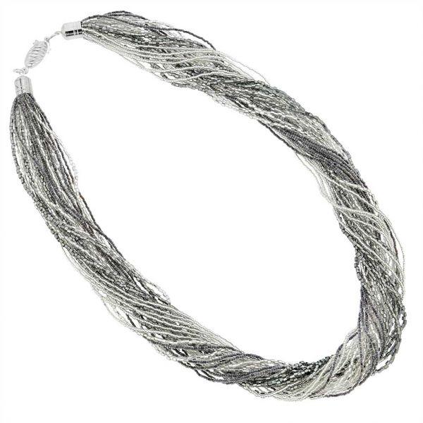 Gloriosa 24 Strand Seed Bead Murano Necklace - Silver Grey
