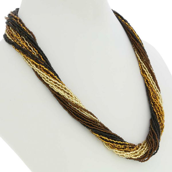 Gloriosa 24 Strand Seed Bead Murano Necklace - Topaz and Gold