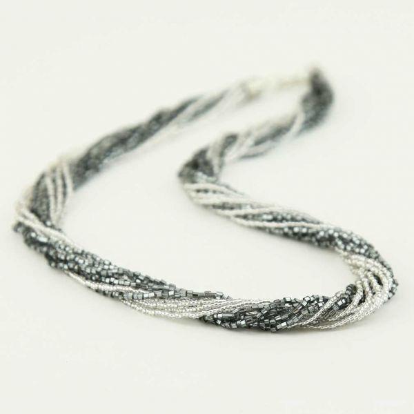 Gloriosa 12 Strand Seed Bead Murano Necklace - Silver Grey