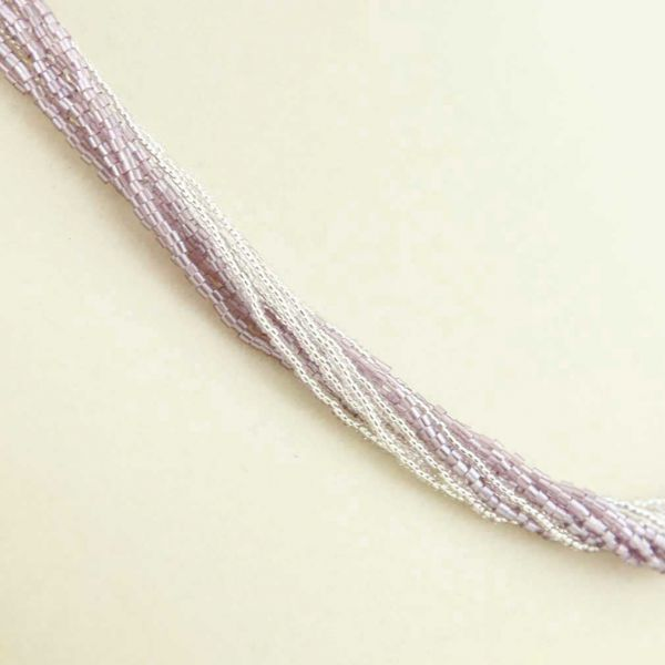 Gloriosa 12 Strand Seed Bead Murano Necklace - Silver Purple