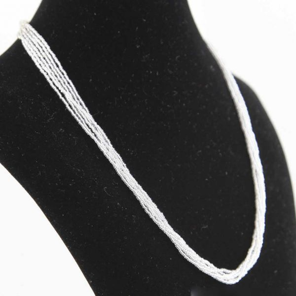 Six Strand Seed Bead Necklace - Silver White