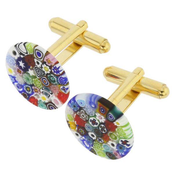 Color Splash Murano Millefiori Cufflinks - 3/4 Inch