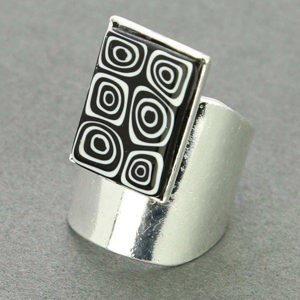 Murano Mosaic Rectangular Ring - Black and White