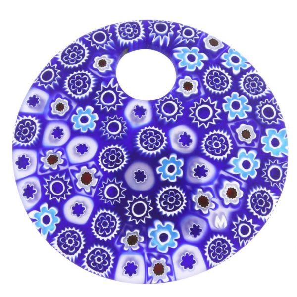 Murano Millefiori Blue Pendant- Large Round