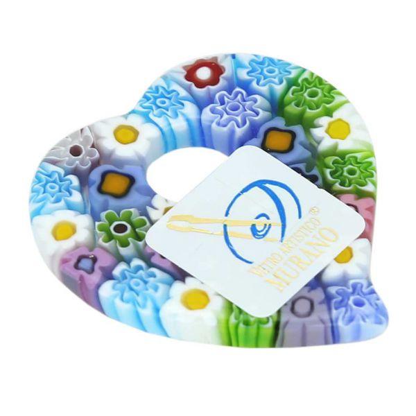 Elegant Millefiori Heart Pendant - Pastels