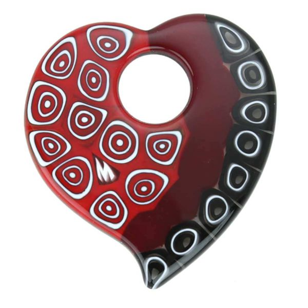 Elegant Millefiori Heart Pendant - Red and Black
