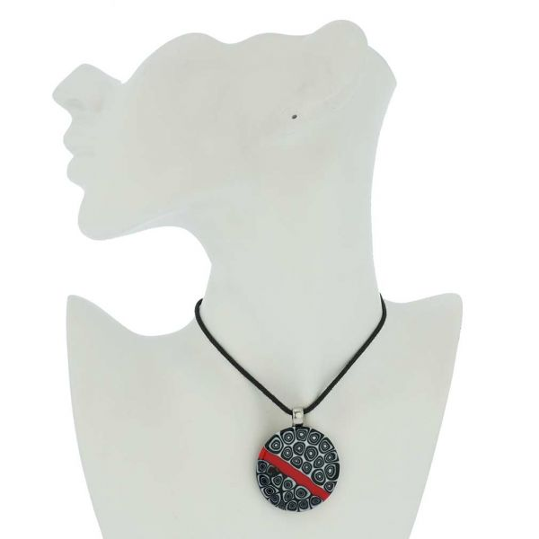 Abstract Millefiori Round Pendant - Red and Black