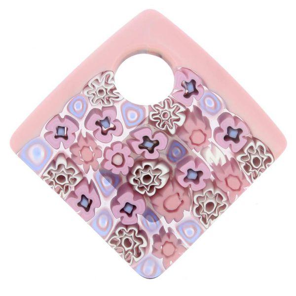 Curved Square Millefiori Pendant - Pink