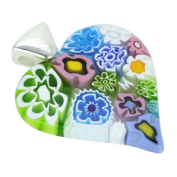 Modern Millefiori Heart Pendant - Pastels
