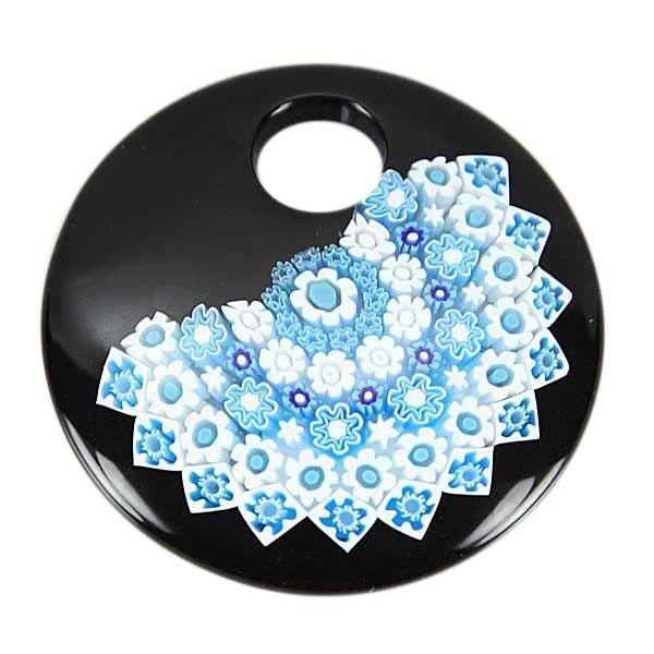 Black and Blue Millefiori Murano Glass Pendant - Round