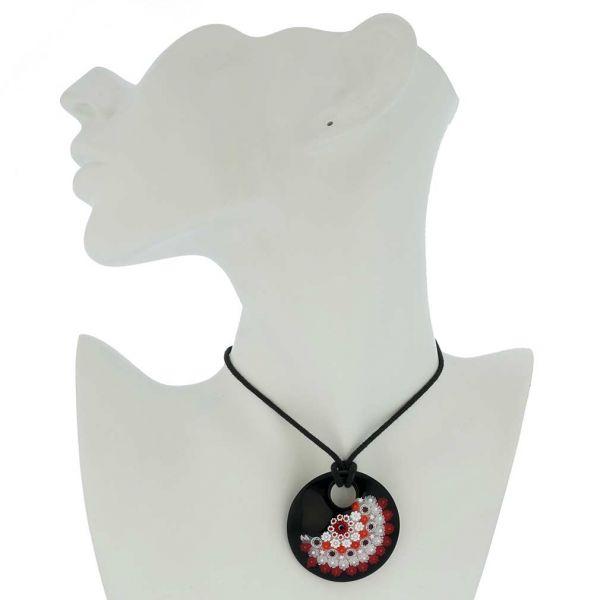 Black and Red Millefiori Murano Glass Pendant - Round