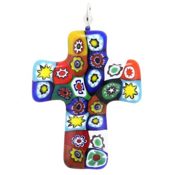 Color Splash Murano Millefiori Cross Pendant