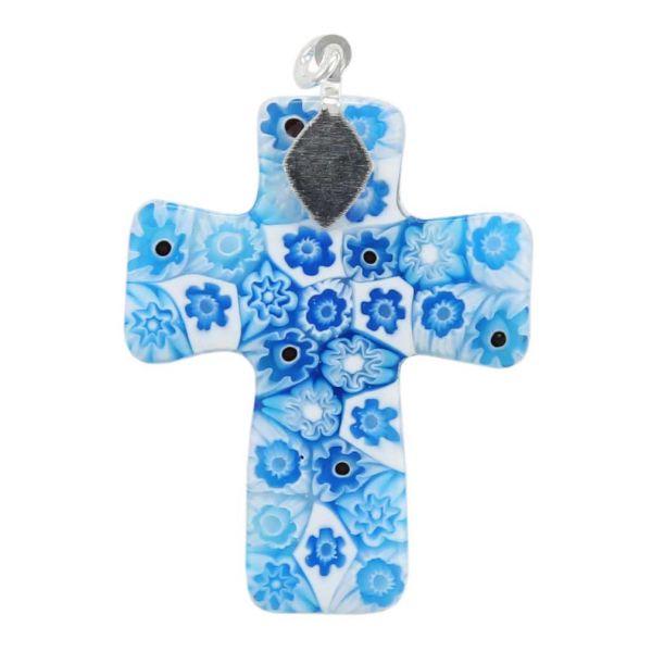 Tender Blue Murano Millefiori Cross Pendant