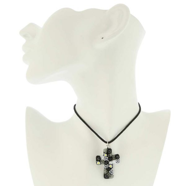 Black and White Murano Millefiori Cross Pendant
