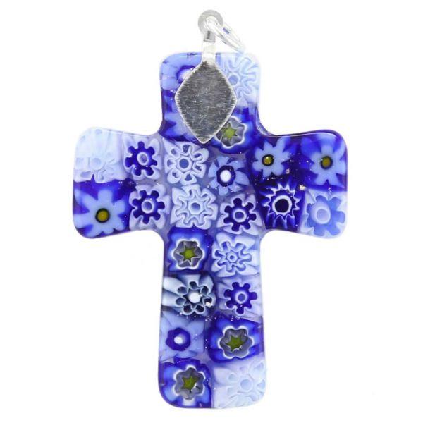 Blue Murano Millefiori Cross Pendant