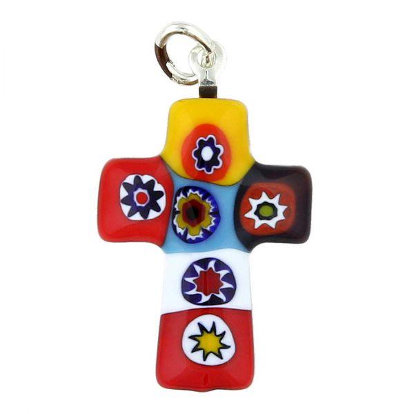 Color Splash Millefiori Small Cross Pendant
