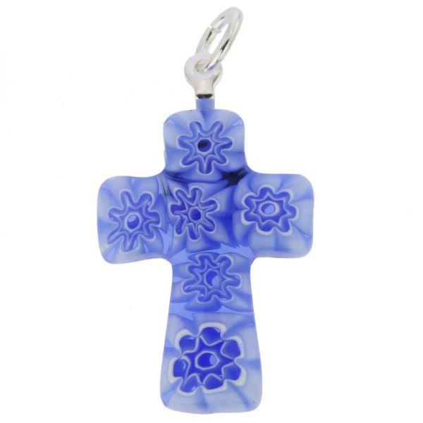 Blue Millefiori Small Cross Pendant