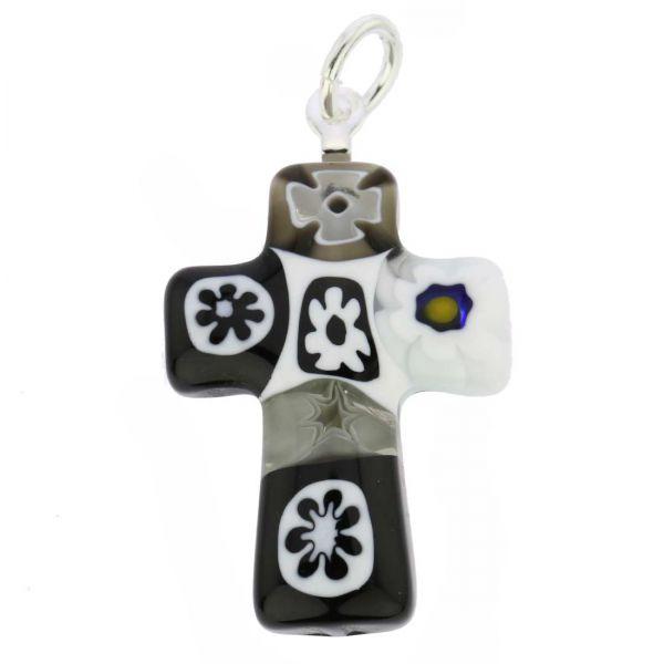 Black and White Millefiori Small Cross Pendant