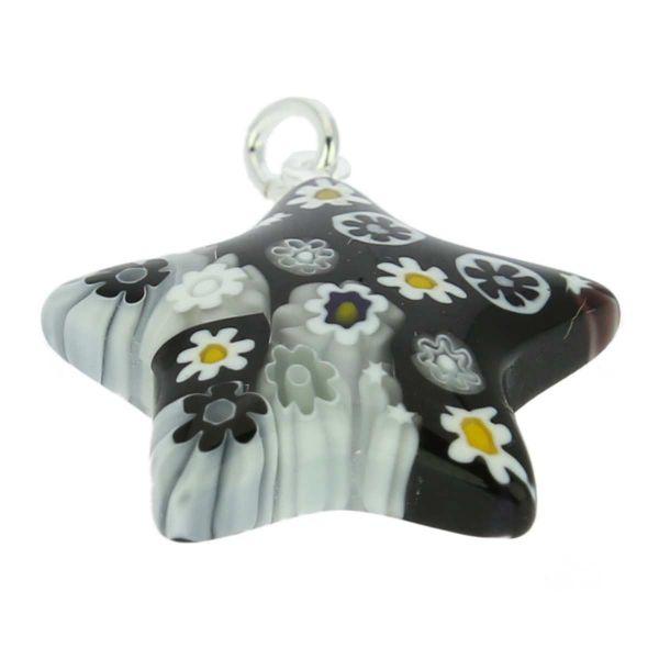 Millefiori Star Pendant - Black and White