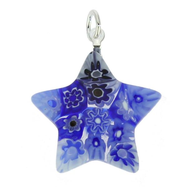Millefiori Star Pendant - Blue