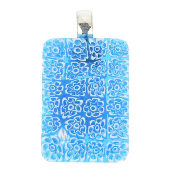 Millefiori Pendant Rectangular - Blue