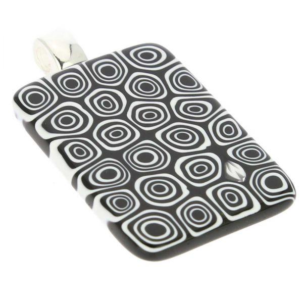 Millefiori Pendant Rectangular - Black and White