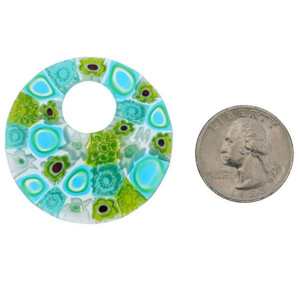 Millefiori Medium Round Pendant - Aqua