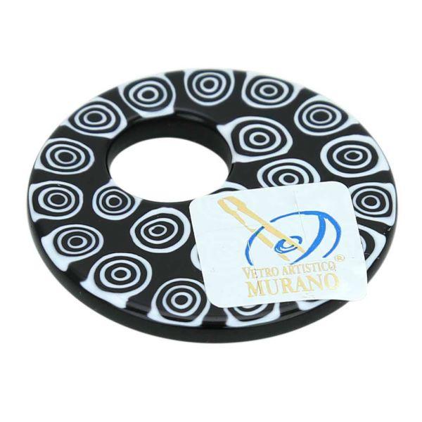 Millefiori Medium Round Pendant - Black and White