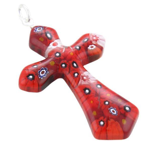 Red Millefiori Elegant Cross Pendant