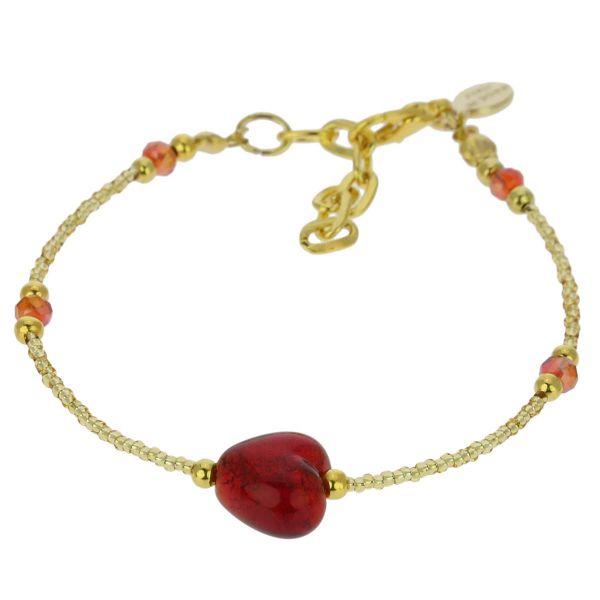 Murano Heart Bracelet - Ruby Red