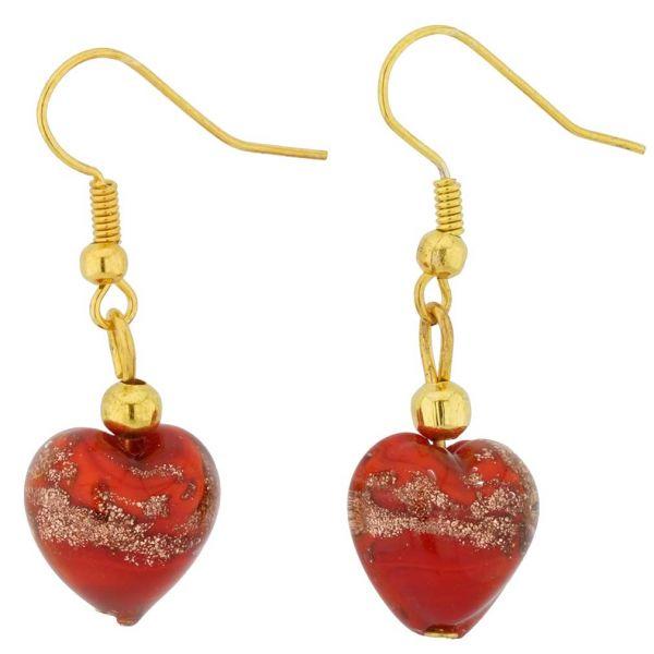 Murano Heart Earrings - Red Sparkles