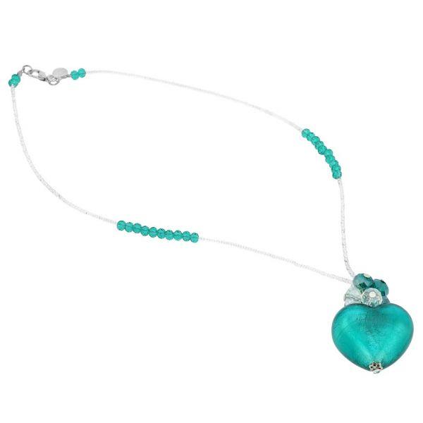Venetian Love Heart Necklace - Aquamarine