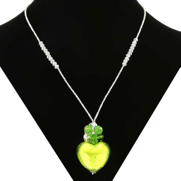 Venetian Love Heart Necklace - Silver and Lime Green