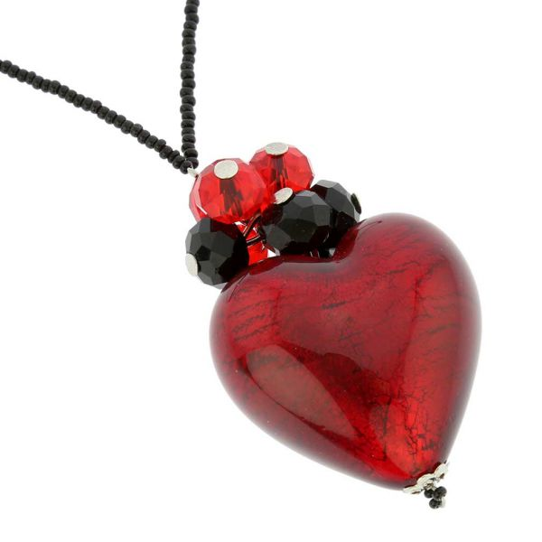Venetian Love Heart Necklace - Ruby Red and Black