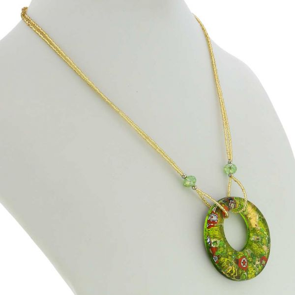 Murano Lava Necklace - Gold and Green