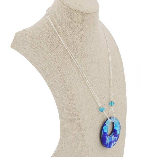 Murano Lava Necklace - Aqua Blue