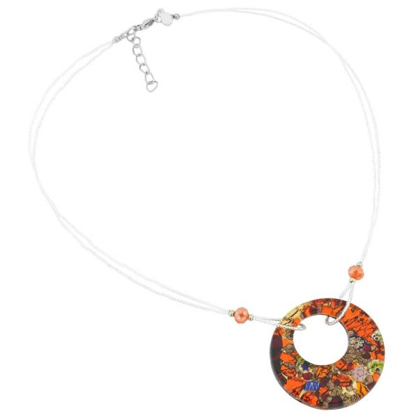 Murano Lava Necklace - Red and Gold
