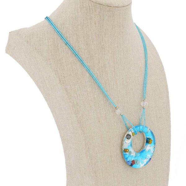 Murano Lava Necklace - Aqua