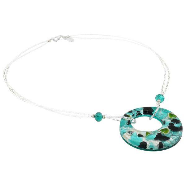 Murano Lava Necklace - Silver Aqua
